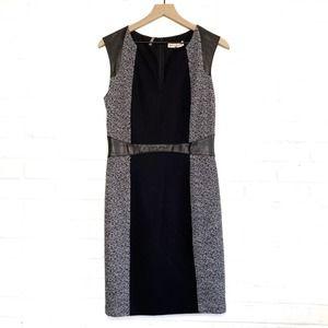Rebecca Taylor Tweed Twill Leather Sheath Dress